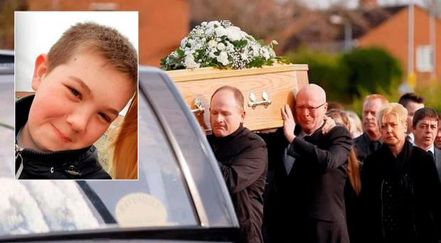 Family and friends gather at the funeral of Adam McCormack, inset