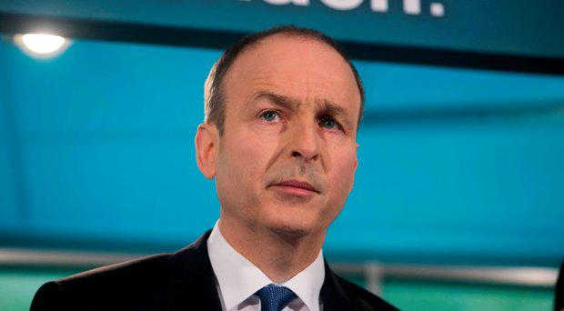 Fianna Fail leader Micheal Martin TD during the launch of Fianna Fail's General Election campaign on Lower Mount Street, Dublin