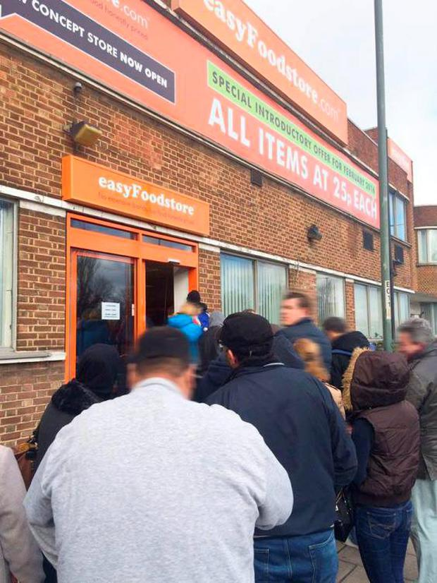 Queues form outside the easyFoodstore in Park Royal, north-west London on Wednesday Facebook