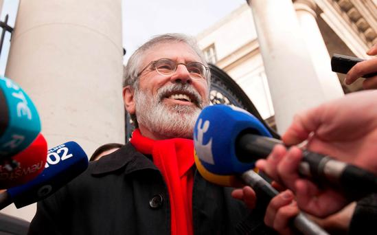 Sinn Fein Leader Gerry Adams TD during the party's response to the calling of the election outside government buildings, Dublin. Photo: Gareth Chaney Collins