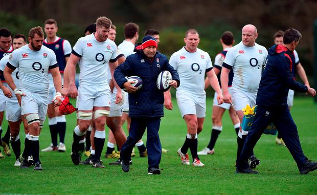 England head coach Eddie Jones (centre) during a training session at Pennyhill Park