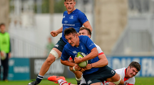 Greg Jones, Leinster, is tackled by San Arnold