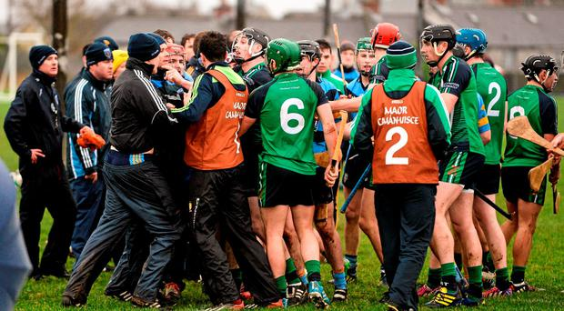 A tussle breaks out on the sideline during the second half. Independent.ie HE GAA Fitzgibbon Cup Group A, Round 2, Limerick Institute Technology v University College Dublin. LIT