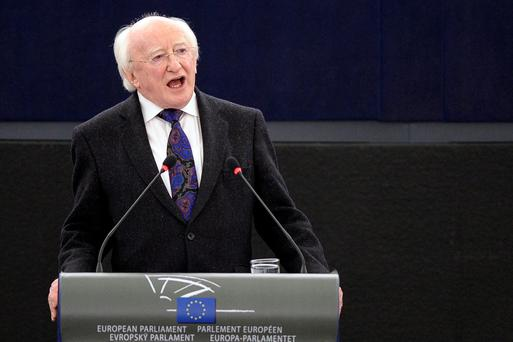 President Michael D. Higgins delivering a speech at the European Parliament in April 2013 Photo: Frederick Florin/AFP/Getty Images