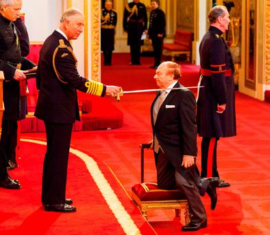 Van Morrison was knighted by Prince Charles at Buckingham Palace in London for his contribution to music. Photo: Dominic Lipinski/PA Wire
