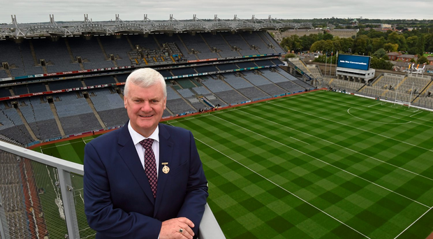Speaking in Croke Park yesterday GAA president Aogán Ó Fearghail ventilated the financial benefits stacked against any inconvenience to the club programme there might be (SPORTSFILE)