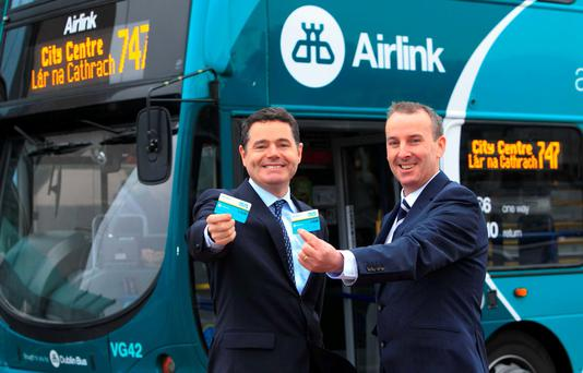 Minister for Transport, Tourism and Sport Paschal Donohoe TD & Ray Coyne, Dublin Bus Chief Executive at the the announcement of service improvements to Airlink and Dublin Bus City & Coastal Tours services