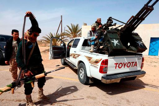 Forces loyal to Libya's Islamist-backed parliament General National Congress (GNC) preparing to launch attacks against Islamic State (IS) group jihadists on the outskirts of Libya's western city of Sirte in 2015.