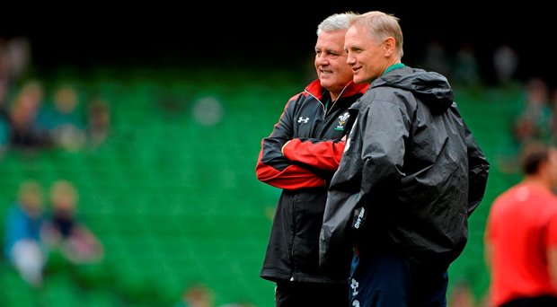 Warren Gatland and Joe Schmidt, here at the Aviva Stadium back in August, renew their rivalry at the same venue on Sunday (SPORTSFILE)