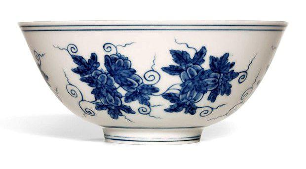 This rare Blue and White Palace Bowl that is just 15.4cm is estimated at £6 million. Photo: Sotheby's