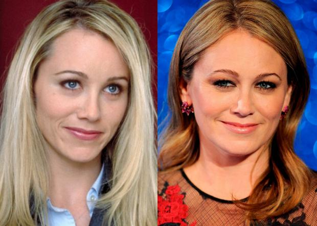 Christine Taylor in 2001 in Zoolander (left) and at the 2016 premiere of Zoolander 2 (right)