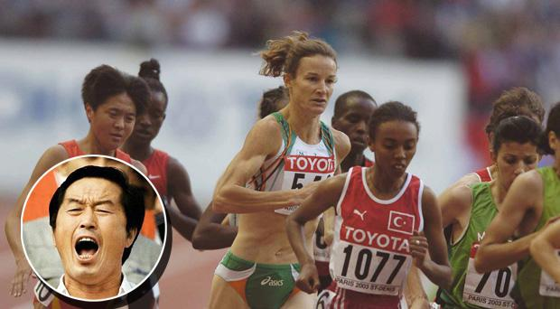 Ireland's Sonia O'Sullivan competes. Inset: Controversial Chinese coach Ma Junren