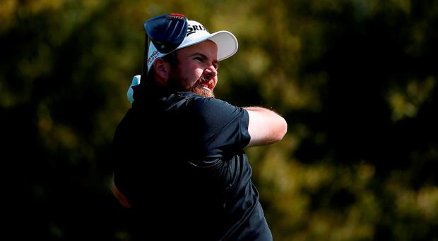 Shane Lowry of Ireland tees off on the fifth hole during the first round of the Waste Management Phoenix Open at TPC Scottsdale