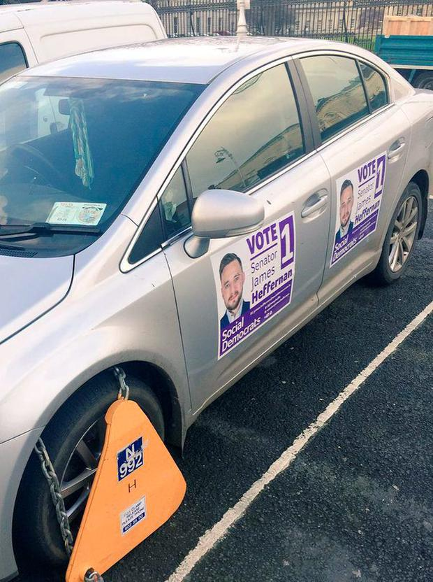Senator James Heffernan's clamped car