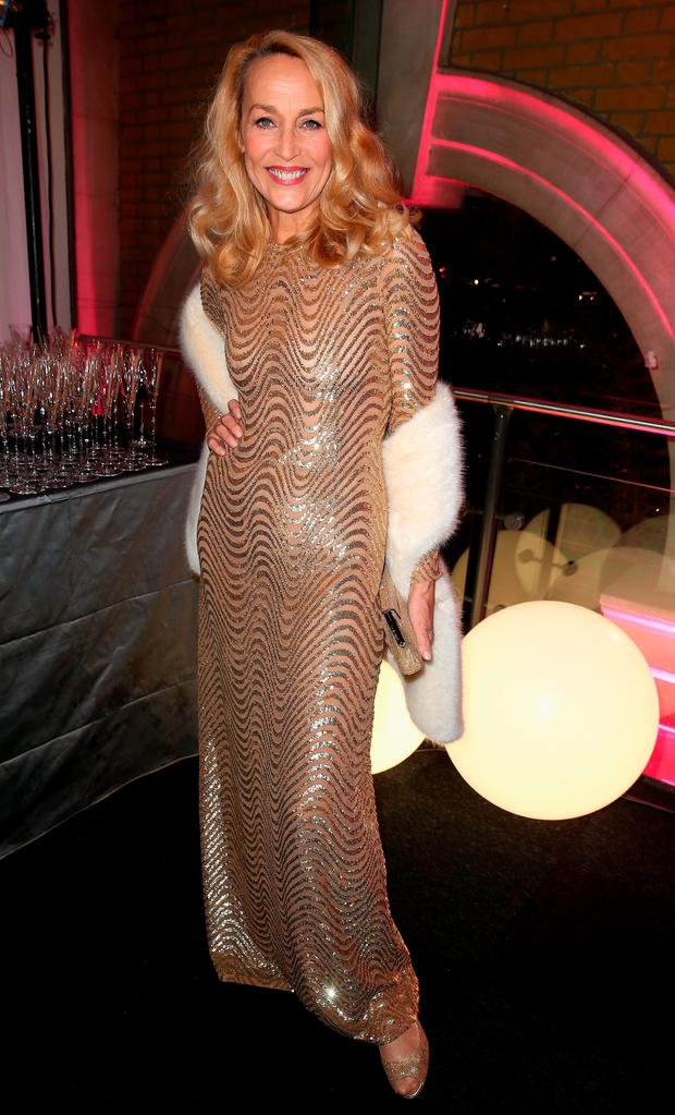 Jerry Hall attends a pre-dinner reception for the Prince's Trust Invest in Futures Gala Dinner at The Old Billingsgate on February 4, 2016 in London