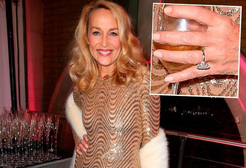 Jerry Hall attends a pre-dinner reception for the Prince's Trust Invest in Futures Gala Dinner in London and (inset) a close-up shot of her engagement ring from Rupert Murdoch, estimated to be worth €3m