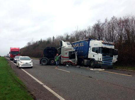Crash on M1 Belfast-Dublin road (Photo: David Conachy)