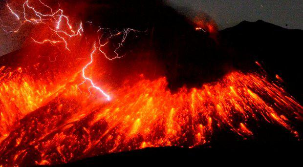 Volcanic lightning is seen at an eruption of Mount Sakurajima, in this photo taken from Tarumizu city, Kagoshima prefecture, southwestern Japan, in this photo taken by Kyodo February 5, 2016