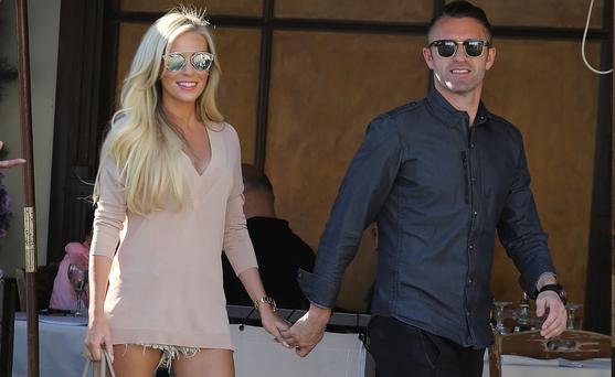 Robbie Keane and wife Claudine Palmer leave Il Pastaio restaurant in Beverly Hills, California. Picture: Splash News