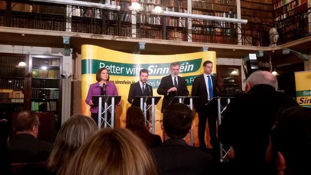 Sinn Fein launches its general election campaign at the Royal Irish Academy on Dawson St in Dublin