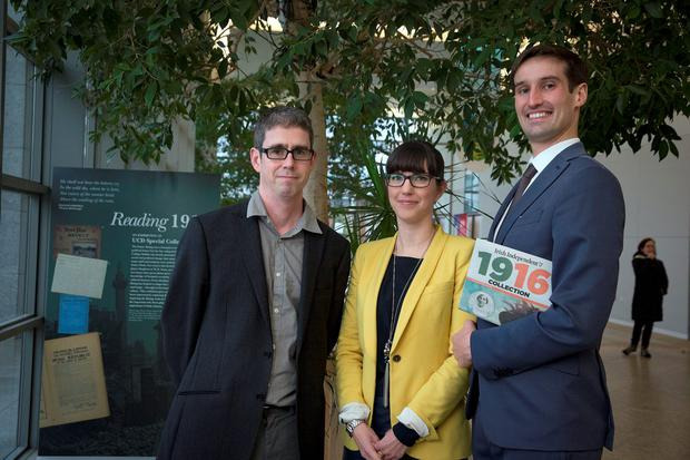 Dr Fearghal McGarry, historian at Queens University; Dr Emelie Pine, School of English; and Dr Conor Mulvagh, lecturer in Irish History, pictured at UCD. Photo: Arthur Carron