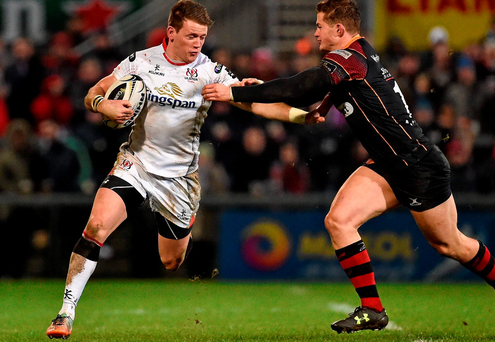 Ulster's Craig Gilroy is tackled by Hallam Amos of the Newport Gwent Dragons. Picture credit: Oliver McVeigh / SPORTSFILE