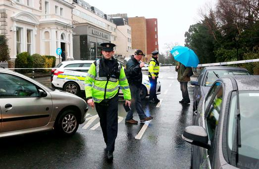Gardaí at the Regency Hotel in the wake of the gangland shooting attack
