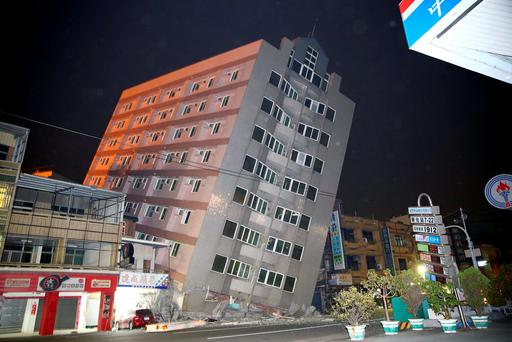 A building is damaged from an earthquake in Taiwan