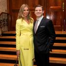 Gordon D'Arcy and Aoife Cogan during the Ireland Funds Annual Fundraiser where former Irish Rugby International was honoured at the Shelbourne Hotel, Dublin. Photo: Collins
