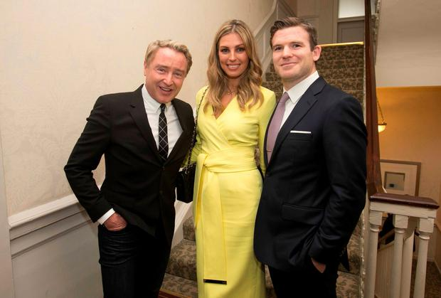 Michael Flatley, Aoife Cogan and Gordon D'Arcy during the Ireland Funds Annual Fundraiser where former Irish Rugby International was honoured at the Shelbourne Hotel, Dublin. Photo: Collins