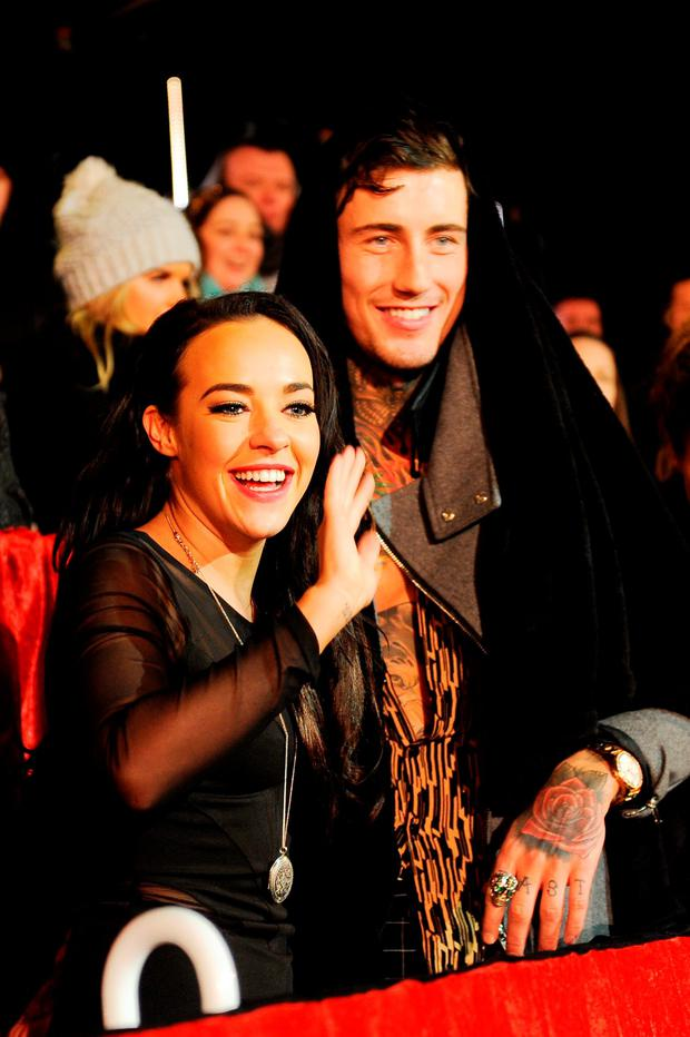 (L-R) Stephanie Davis and Jeremy McConnell at the final of Celebrity Big Brother at Elstree Studios on February 5, 2016 in Borehamwood, England. (Photo by Jeff Spicer/Getty Images)