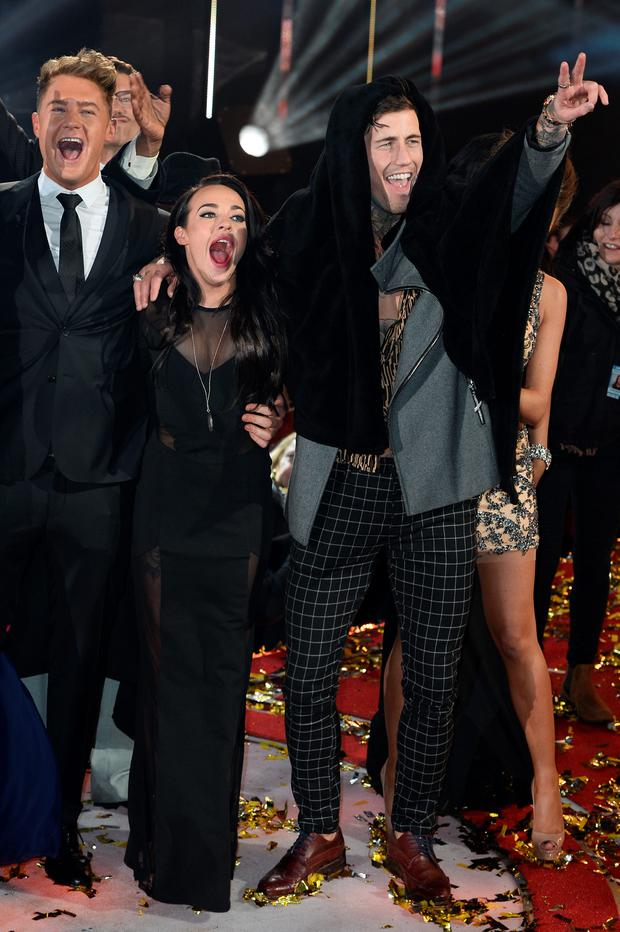 B(L-R) Scotty T, Stephanie Davis and Jeremy McConnell at the final of Celebrity Big Brother at Elstree Studios on February 5, 2016 in Borehamwood, England. (Photo by Jeff Spicer/Getty Images)