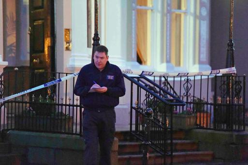 Police attend the scene of a shooting at the Regency Hotel in Dublin, Ireland. Reuters/Clodagh Kilcoyne