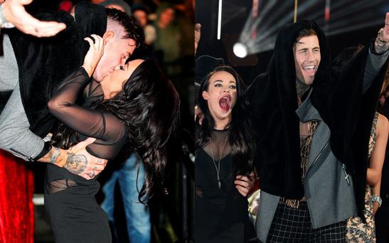 Stephanie Davis and Jeremy McConnell kiss at the Celebrity Big Brother final (left) and celebrate after (right)