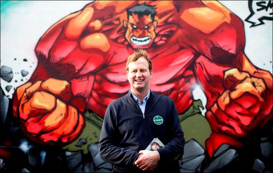 Superhero: Jim O'Callaghan, Fianna Fáil candidate for Dublin Bay South on the canvas trail. Photo: David Conachy.