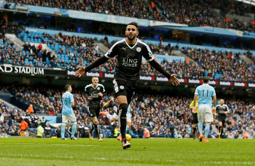 Leicester City's Riyad Mahrez celebrates scoring against Manchester City