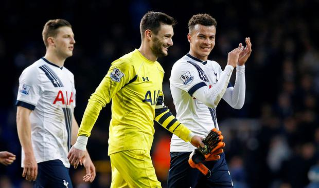 Tottenham Hotspur's Dele Alli (R), Hugo Lloris (C) and Kevin Wimmer celebrate winning after the game