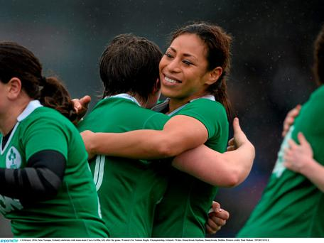 Sene Naoupu, Ireland, celebrates with team-mate Ciara Griffin, left, after the game