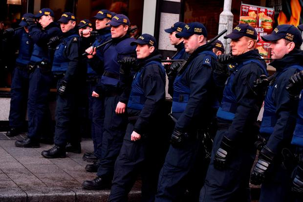 Members of the Garda Public Order Unit and riot police at an anti-racism demonstration against the launch of an Irish branch of PEGIDA in Dublin