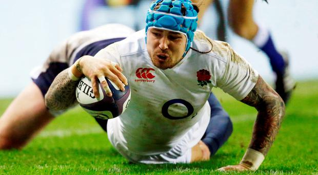 England's Jack Nowell scores his side's second try during the 2016 RBS Six Nations match at BT Murrayfield Stadium