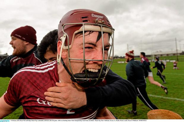 Ryan McCambridge, Ruairí Óg, Cushendall, celebrates after the game