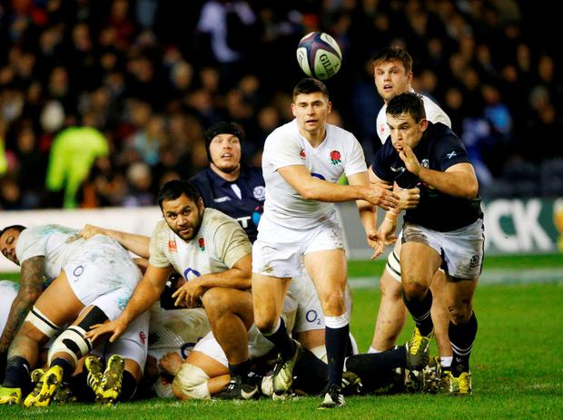 England's Ben Youngs chased by Scotland's John Hardie