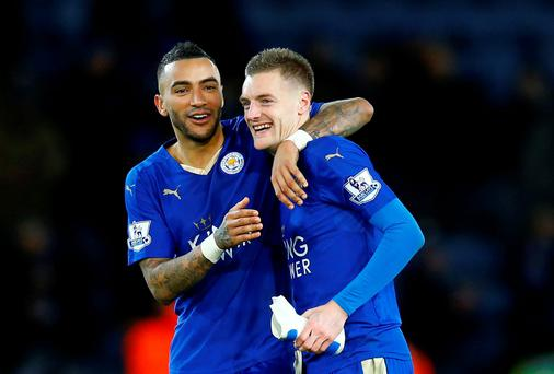 Leicester City's Jamie Vardy celebrates with Danny Simpson. Photo: Reuters