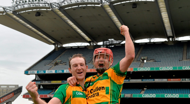 Bennettsbridge's Aidan Cleere and Darragh Weafer celebrate winning last year's All-Ireland junior club title. Photo: Piaras Ó Mídheach