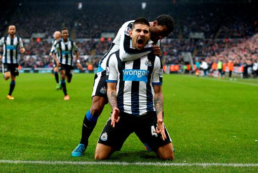 Newcastle United's Aleksandar Mitrovic celebrates scoring his side's winning goal. Photo: PA