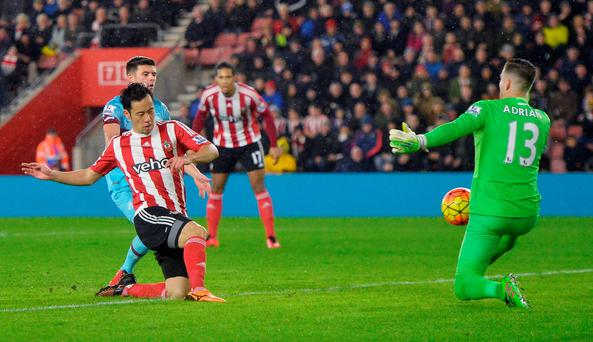 Maya Yoshida slots home Southampton's winning goal. Photo: Reuters