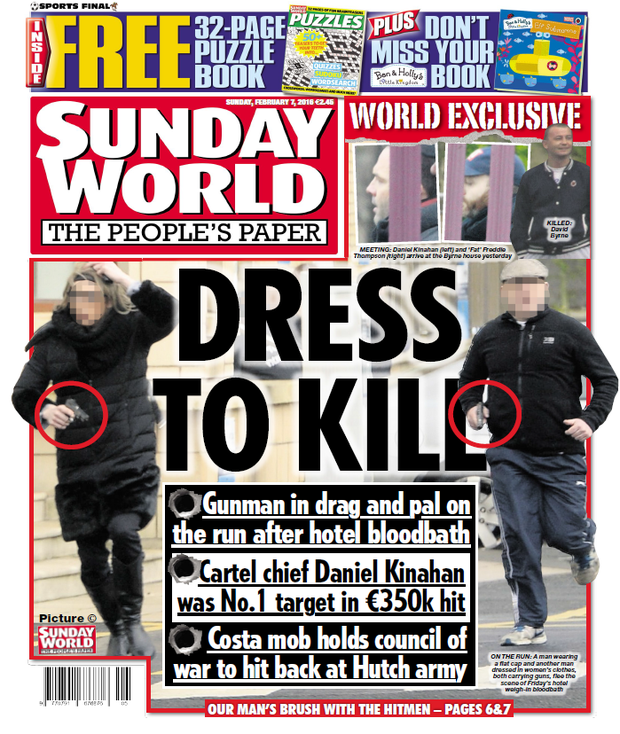 Today's front page of the Sunday World