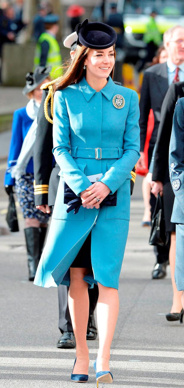The Duchess of Cambridge walks from St Clement Danes Church in London to the Royal Courts of Justice, for a reception to mark 75th anniversary of the forming of the RAF Air cadets. Picture: John Stillwell/PA Wire