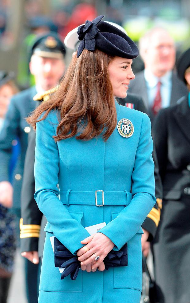 The Duchess of Cambridge walks from St Clement Danes Church in Lonodn to the Royal Courts of Justice, for a reception to mark 75th anniversary of the forming of the RAF Air cadets. Picture: John Stillwell/PA Wire