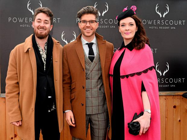 TV Presenter & Style Entrepreneur Darren Kennedy, centre, with the winners of Powerscourt Hotel Style Awards Most Stylish Lady and Most Edgy Gentleman Laura Jayne Halton, from Maynooth, Co. Kildare, and Dylan Martin, from Denver, Colorado, USA.
